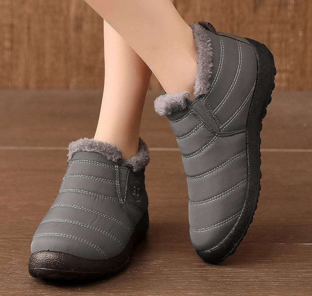 OFEFAN Women Winter Snow Ankle Boots Fur Lining Waterproof Outdoor Slip On Booties Sneakers