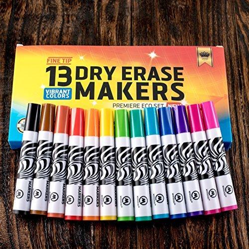 Dry Erase Markers Whiteboard Marker Pens Set For Kids Fine Point Erasable Pen Tip Best for School White Board Eraser Calendar Children and Office Supplies 13 Colors Black Red Blue Neon Eco Gift Box