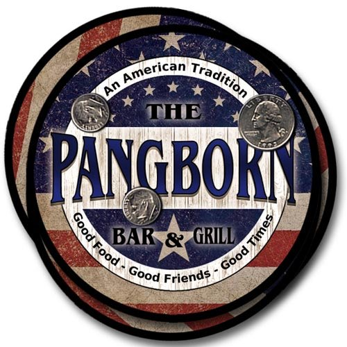 Pangborn Family Bar and Grill Rubber Drink Coaster Set - Patriotic -