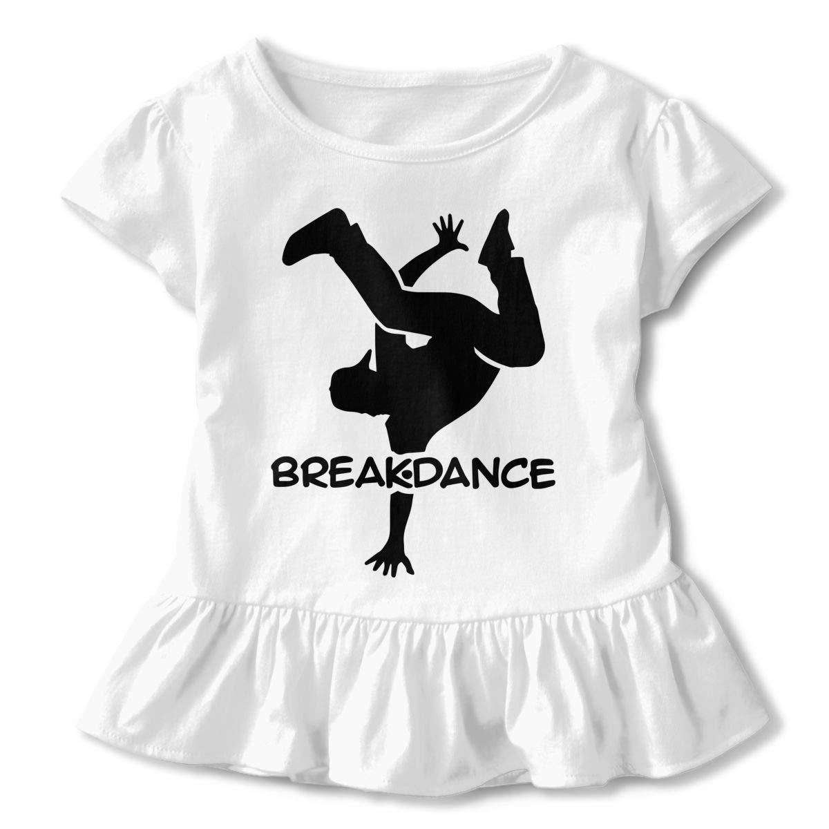 Breakdance Silhouette Kids Girls Short Sleeve Shirts Ruffles Shirt T-Shirt for 2-6T