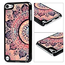 iPod 5 Case,iPod Touch 5 Case,iTouch 5 Case- MOLLYCOOCLE® Painted Series Black Frame PC Bumper and Back Aluminum Hard Shell Cover Pink Totem Flower Pattern Cover for Apple iPod Touch 5 5th Generation