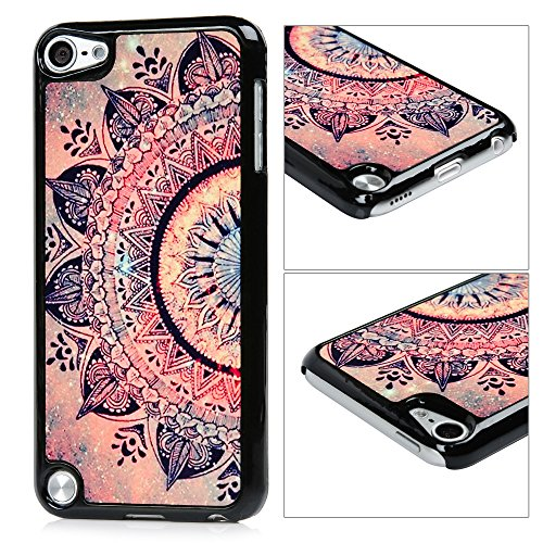 MOLLYCOOCLE iPod Touch 5 Case, Touch 6 Case, Flower Totem for Girls Frame Soft Flexible TPU Hard PC Bumper Back Shell Protective Cover for iPod Touch 5/6