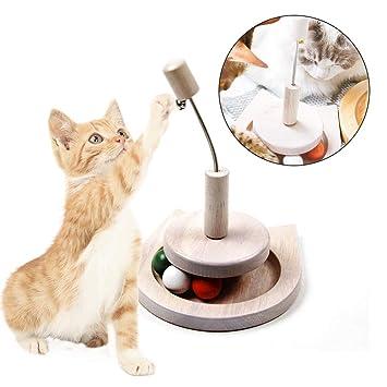 Chuanglan - Bandeja de Juguete para Gatos con diseño de Torre de Madera, Color Verde, Blanco, Naranja, 3 Gatos y Campana en la Cola: Amazon.es: Productos ...