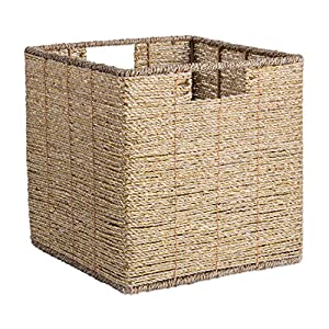 "DII Decorative Woven Seagrass Cube with Metallic for Bathroom & Home Organization Solutions to Enhance Décor & Add Functionality (Medium Cube - 11x11x11"") Gold"