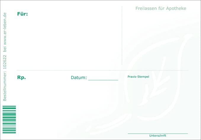 Formulare f/ür Heilpraktiker Rezeptformular f/ür Heilpraktiker Rezeptblock 3 x 50 Blatt