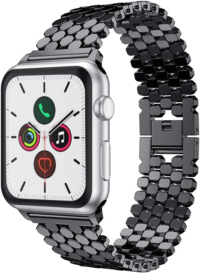 Metal Band Compatible with Apple Watch 38mm 40mm 42mm 44mm Fish-scale Pattern Stainless Steel Link Bracelet Strap for Apple Watch Series5 Series4 3 2 1,With Adjust Tool