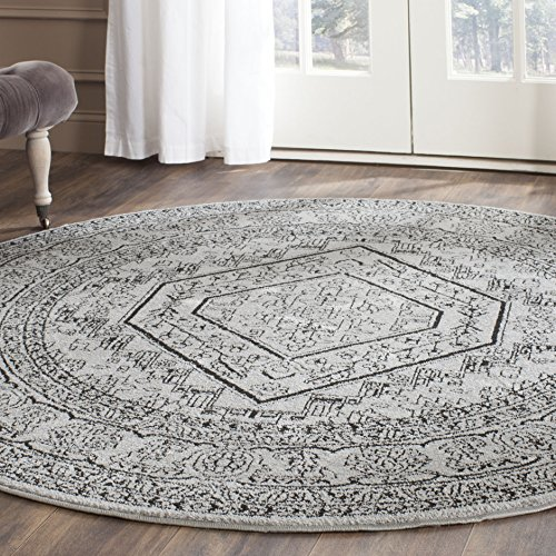 Safavieh Adirondack Collection ADR108A Silver And Black Oriental Vintage  Round Area Rug (8u0027 Diameter)