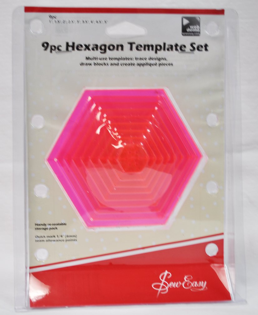 Amazon.com: Sew Easy 9 Piece Hexagon Template Set ERGG07.PNK