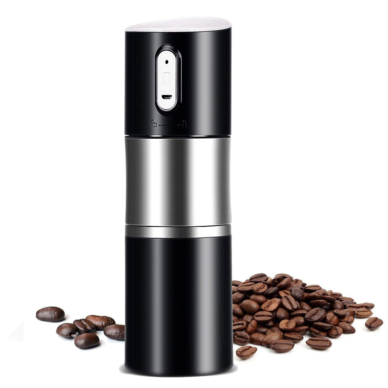 TOOGOO Portable Coffee Grinder Burr Automatic Espresso Machine Coffee Maker Rechargeable Battery Operated,Travel Coffee Tumbler For Home,Office,Cars,Camping,Travel Black