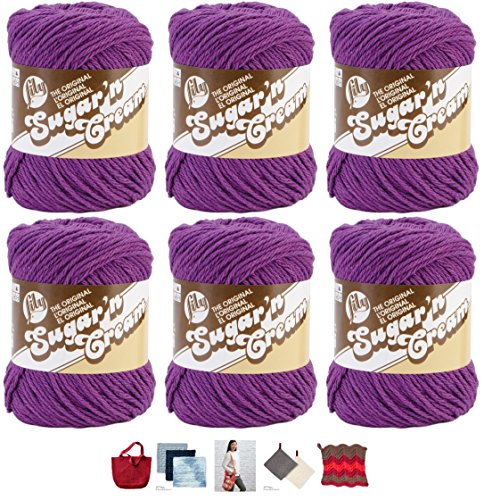 - Bulk Buy: Lily Sugar'n Cream Yarn 100% Cotton Solids and Ombres (6-Pack) Medium #4 Worsted plus 5 Lily Patterns (Black Currant 01318)