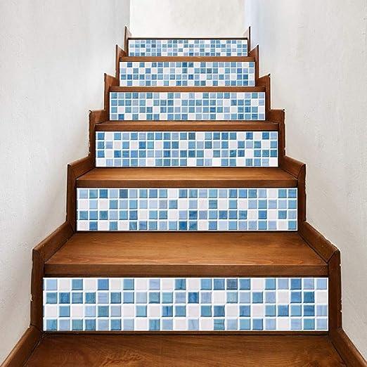 HYTGFR Pegatinas De Escaleras Fondo De La Sala De Estar De Azulejo De Imitación Blanco Azul Calcomanías Etiqueta De La Pared Vinilo Arte Decoración del Hogar: Amazon.es: Hogar