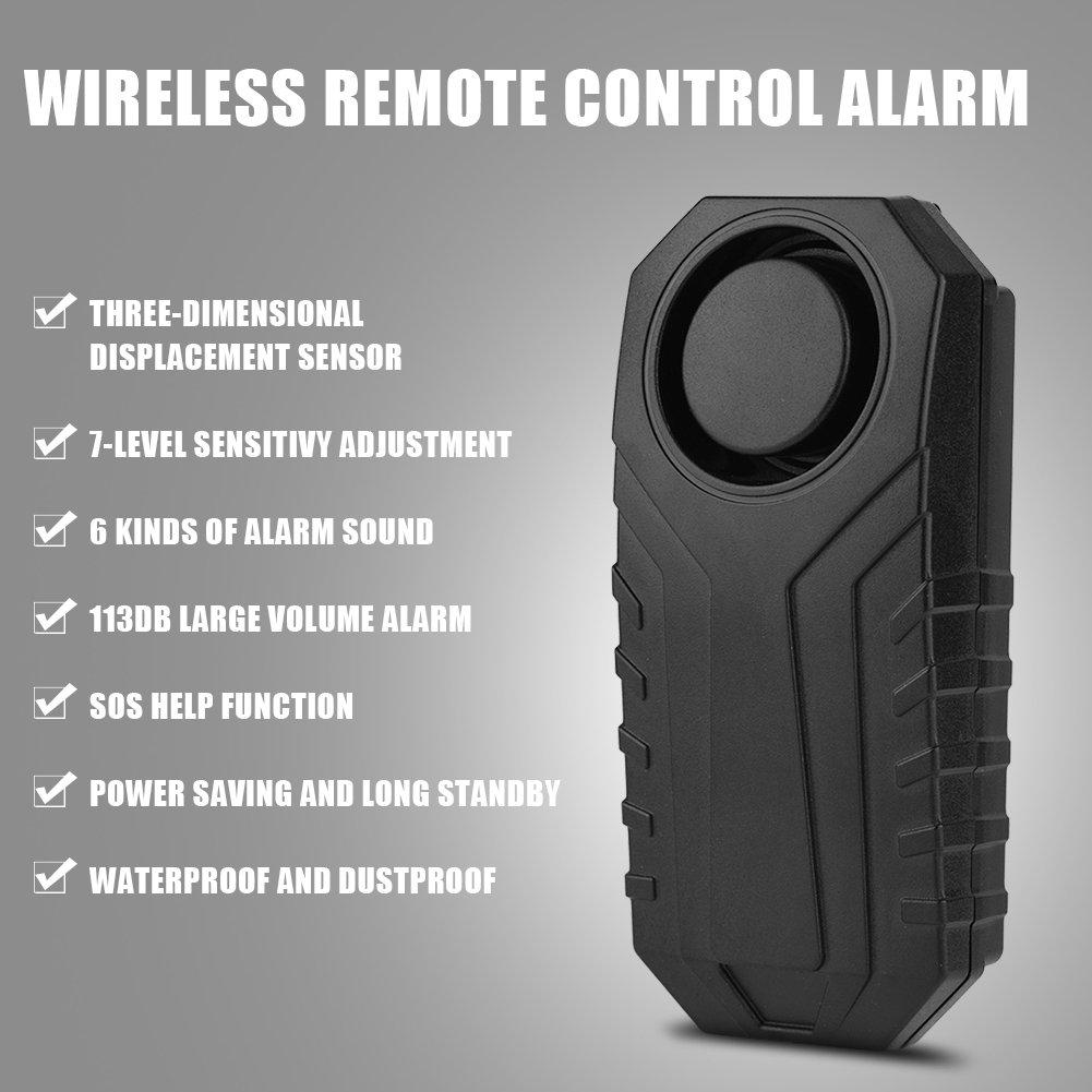 Fen/être Facile /à Utiliser Noir Voiture Mavis Laven Alarme avec t/él/écommande sans Fil antivol Intelligente imperm/éable 113db Super Fort Moto V/élo