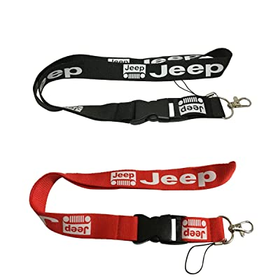 Set 1pcs Black Jeep + 1pcs Red Jeep Auto Lanyard Workout Gear Office and Auto Car Keychain Accessories Motorbike Superbike Lanyard with Webbing Strap Quick Release Buckle: Automotive