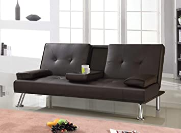 Stupendous Popamazing Modern Double Tv Cinema Sofa Bed Faux Leather Fold Out Chair Bed Guest Z Sofa Bed Futon Folding Mattress With Fold Down Table Drinks Holder Squirreltailoven Fun Painted Chair Ideas Images Squirreltailovenorg