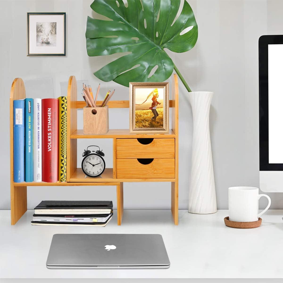 naturale libreria per accessori organizer da scrivania JingPeng Organizer da scrivania per ufficio libreria con 2 cassetti ripiano in bamb/ù regolabile