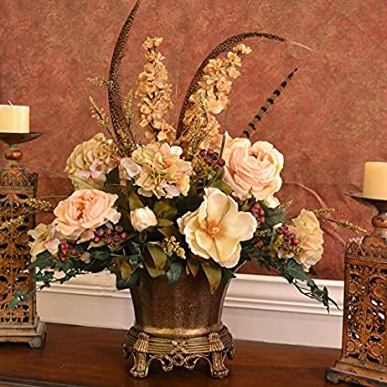 Amazon Elegant Silk Flower Centerpiece With Roses And Magnolias