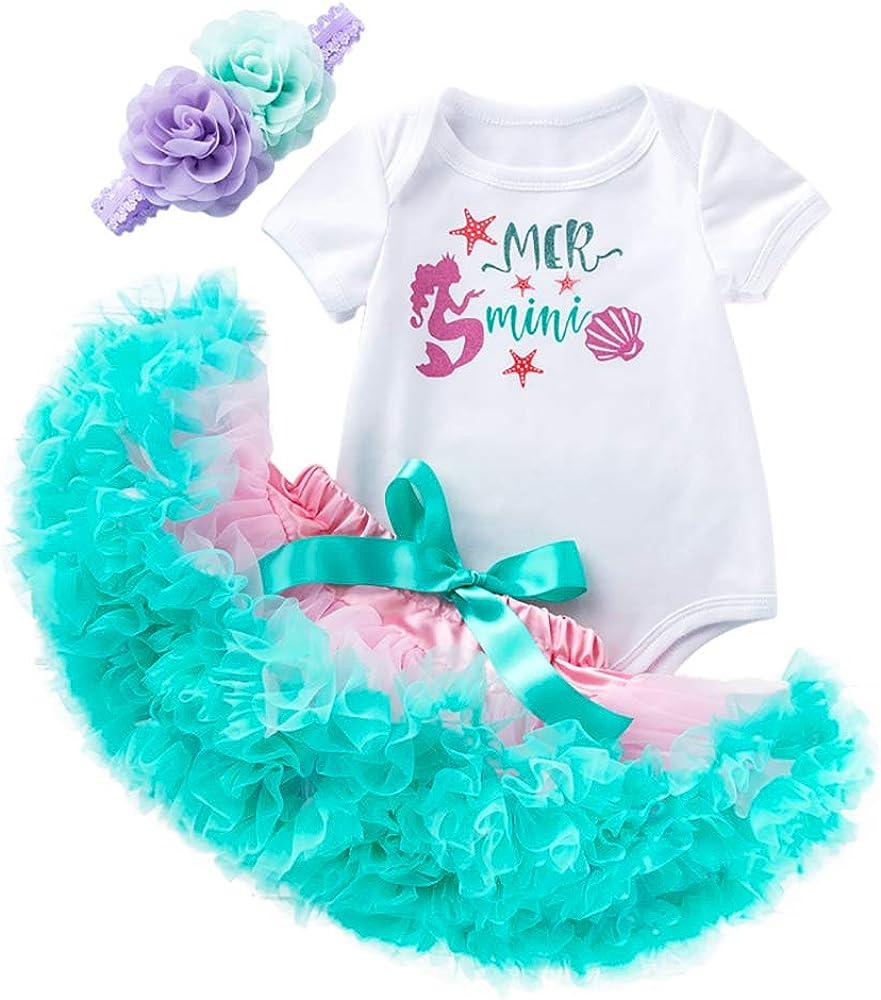 Customizable 2-Piece Set Mermaid Tutu Dress Mermaid Headband First Birthday Party Cake Smash Under The Sea Halloween Baby Infant Toddler