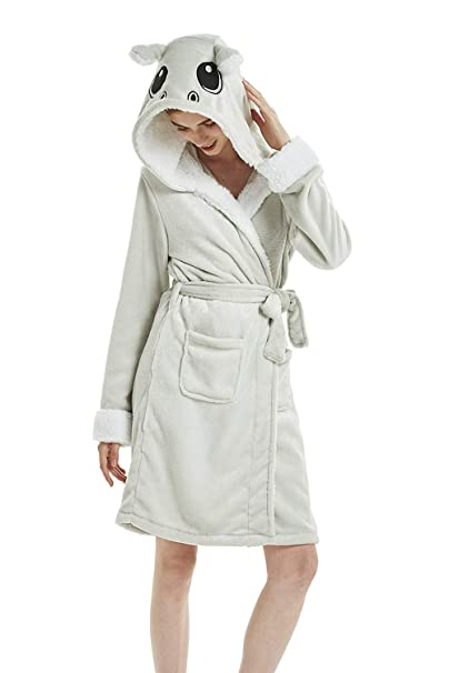 misslight Mujeres Batas de baño Bata de Sauna Abrigo de Toalla Esponja Robe de Chambre luz