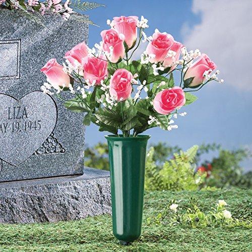 Floral Memorial Vase Garden Stake, Pink, Plastic, Polyester