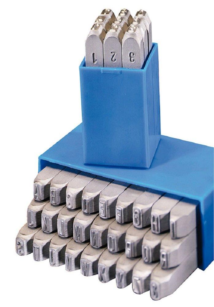 Gravurem Schlagzahlen und -buchstaben 0-9 und A-Z, Kombination in Schrifthö he 1,5 mm, 10701500