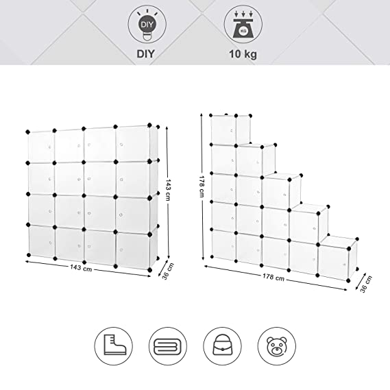 SONGMICS Armario Modular de plástico PP Estantería de almacenaje 16 Cubos 143 x 36 x 143 cm Semitraslúcido Blanco LPC44B: Amazon.es: Hogar