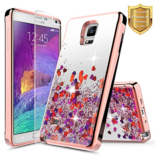 Galaxy Note 4 Case with [Tempered Glass Screen Protector]. NageBee Quicksand Liquid Floating Glitter Flowing Sparkle Bling Clear Case for Samsung Galaxy Note 4 [SM-N910S / SM-N910C] (Rose Gold)