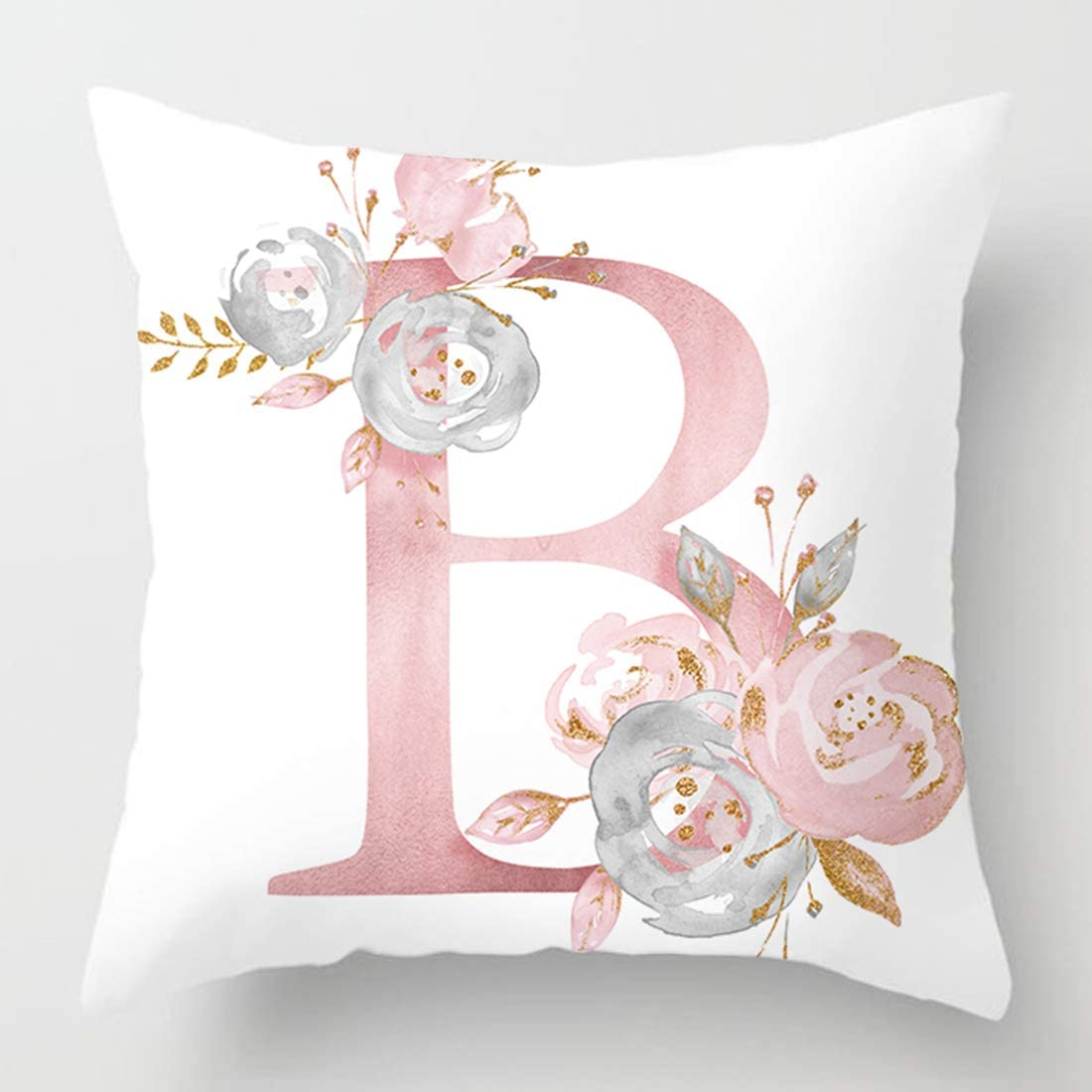 vctops Flowers Printed Throw Pillow Covers Alphabet Decorative Pillow Cases ABC Letter Cushion Covers 18 X 18 Inch Square Pillow Protectors for Sofa Couch Bedroom White B