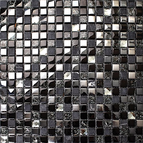 Hominter 5-Sheets Glass Marble Wall Tile, Grey and Black Rhinestone Backsplash for Kitchen, Silve Coating and Crackled Crystal Mosaic Bathroom Tiles KS66B by Hominter (Image #2)
