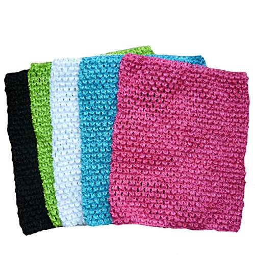 Crochet Tutu Tops, KADIWOW 9 Inch Crochet Headbands Crochet Top For 7-36 Months Kids 5PCS (#6)