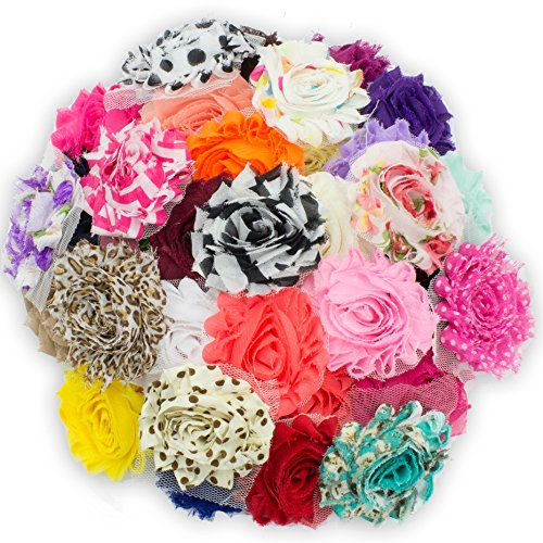 JLIKA (100 pieces) Shabby Flowers - Chiffon Fabric Roses - 2.5'' - Solids and Prints Included - Assorted Color Mix - Single Flowers Grab Bag by JLIKA