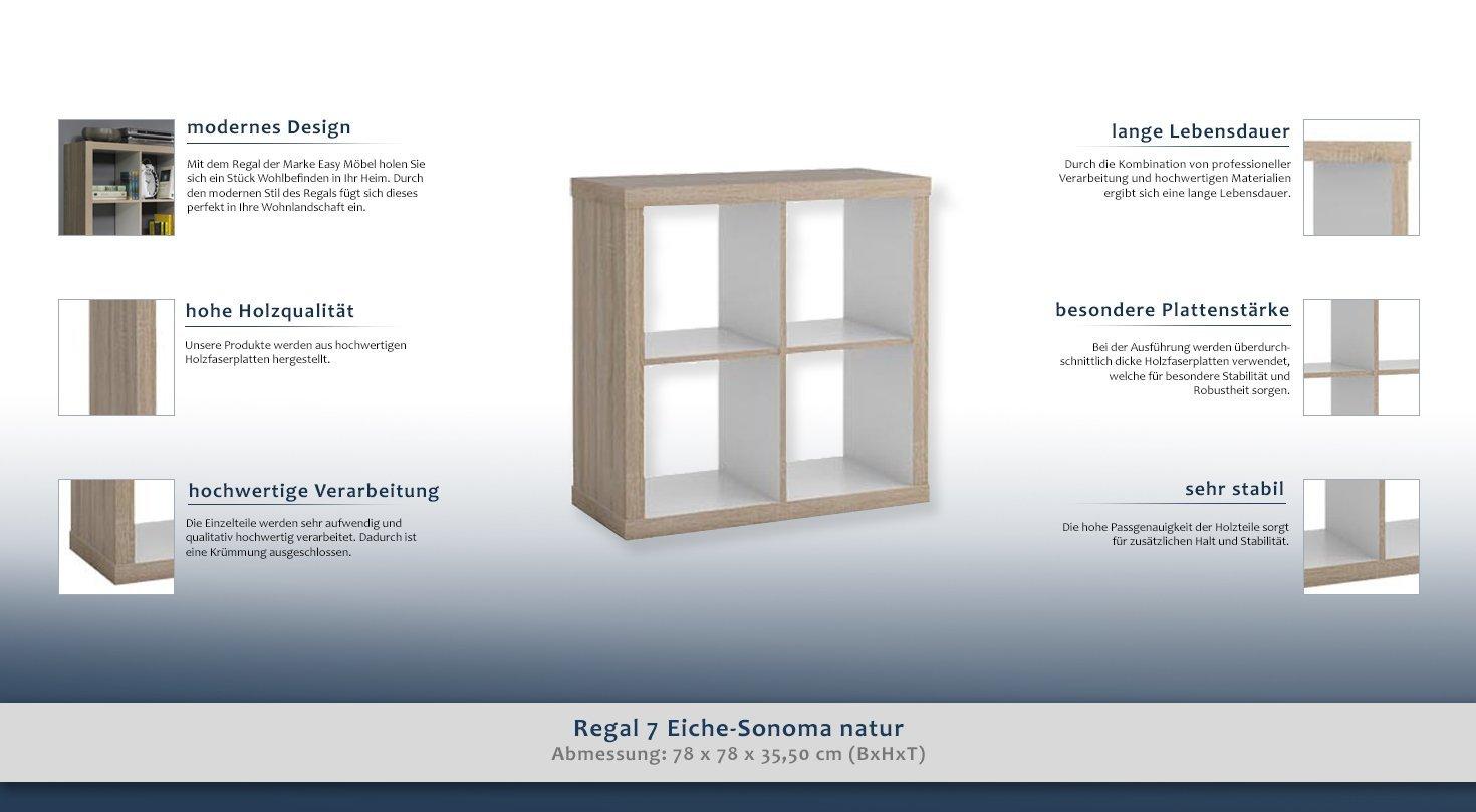 Cube Shelving Unit 7, Sonoma Oak effect - W78 x H78 x D35,50 cm ...