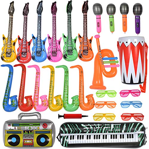 Inflatable Instruments Bulk (Max Fun 27PCS Random Color Inflatable Party Props Instrument Inflate Rock Band Assortment for Concert Theme Party Favors (Pack of)