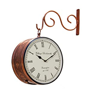 RoyalsCart Double Sided Railway Station/Platform Analog Wall Clock, Copper