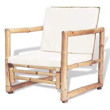 vidaXL 2X Chaise de Jardin Bambou Siège Fauteuil Extérieur Canapé de ...