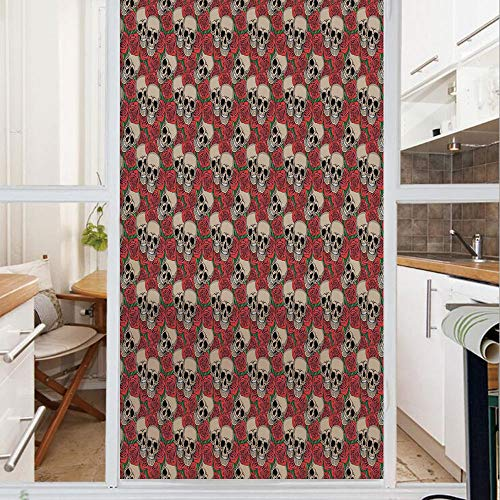 Decorative Window Film,No Glue Frosted Privacy Film,Stained Glass Door Film,Graphic Skulls and Red Rose Blossoms Halloween Inspired Retro Gothic Pattern,for Home & Office,23.6In. by 59In Vermilion Tan]()