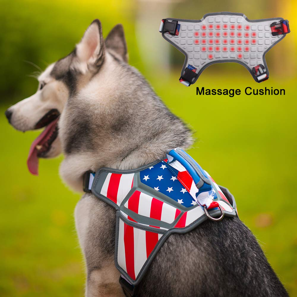 WEETALL Dog Harness, No-Pull & Adjustable Large Dog Harness, American Flag Theme Dog Vest with Reflective Straps for Large Breed