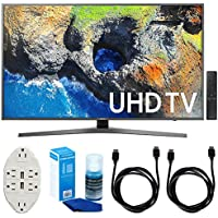 Samsung 65 4K Ultra HD Smart LED TV - UN65MU7000 (2017 Model) w/ Accessories Bundle Includes, Transformer Tap USB w/ 6-Outlet Wall Adapter & 2 Ports, 2x 6ft. HDMI Cable & Screen Cleaner For LED TVs
