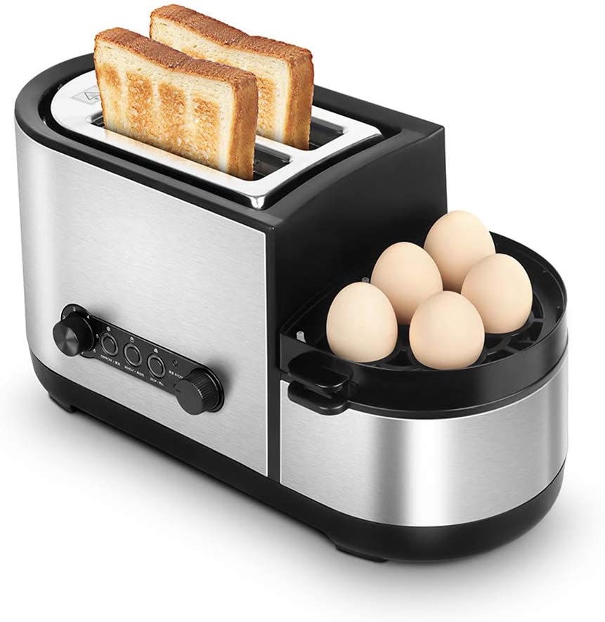 NAFE Toaster, 5-in-1 Toaster with Egg Boiler and Poachers, 2 Slice Toaster with Mini Frying Pan, Steamer, Wide Slot, 7 Modes of Browning Control, 1250 W, Stainless Steel Silver