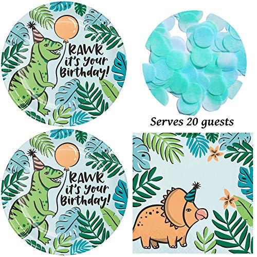 Dinosaur Birthday Party Supplies for 20 Guests - Plates, Napkins, Tissue Confetti -