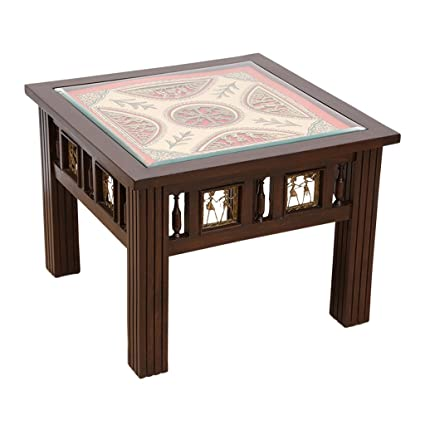 Superieur ExclusiveLane Teak Wood Side Table With Warli U0026 Dhokra Art Work  Bedside  Table Coffee Table