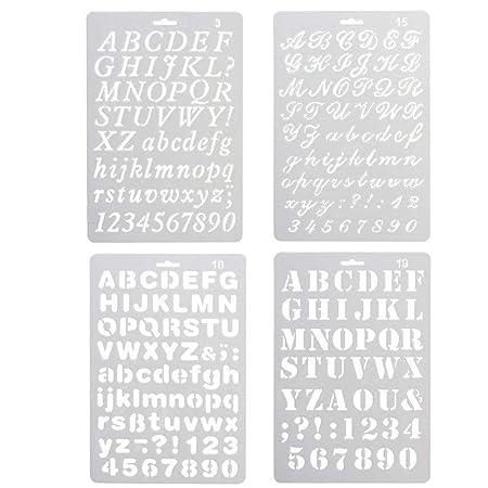 Plantillas de dibujo artístico Wuudi, varios estilos, de plástico, con números y letras, letras mayúsculas y símbolos numéricos para pasteles, moldes de ...