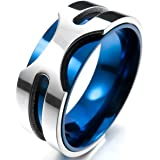 MunkiMix 8mm Stainless Steel Ring Band Silver Tone Blue Wedding Men