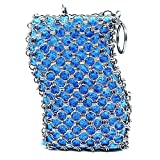 Stoon Cast Iron Cleaner, Stainless Steel Chainmail Scrubber with Wood Pulp Sponge for Skillet, Pot, Pan, Wok, BBQ, Better Grip Design, Oil Free Cookware Scraper for Home and Camping (Blue)