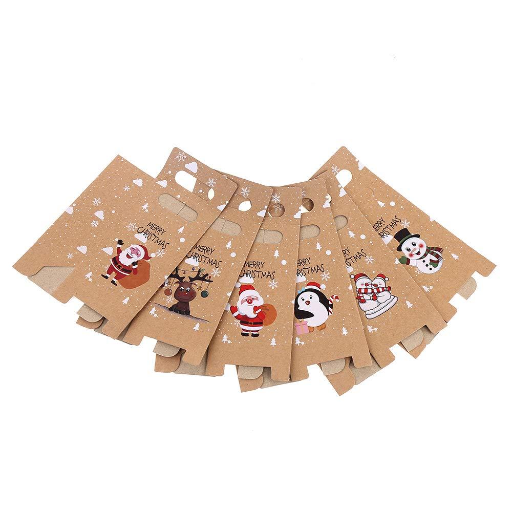 Veylin 24 St/ück Weihnachts-Geschenkboxen Kraftpapier S/ü/ßigkeiten Papiert/üten f/ür Weihnachtsdekoration Zubeh/ör verschiedene 6 Stile