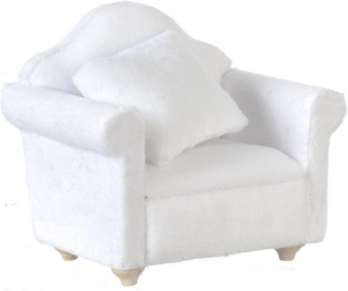 Melody Jane Dollhouse White Velour Armchair Modern 1:12 Miniature Living Room Furniture