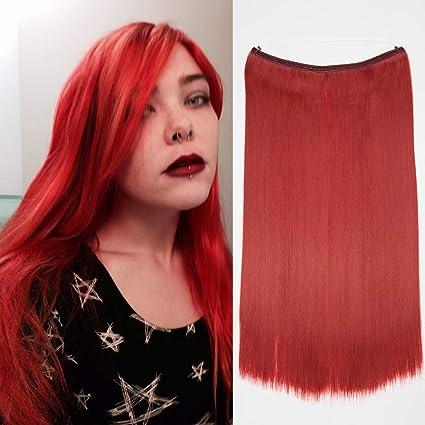 Extensión con hilo invisible Pelo sintético largo y recto 20 pulgadas / 50 cm Banda para la cabeza Cable simple Transparente - Extensiones de cabello ...
