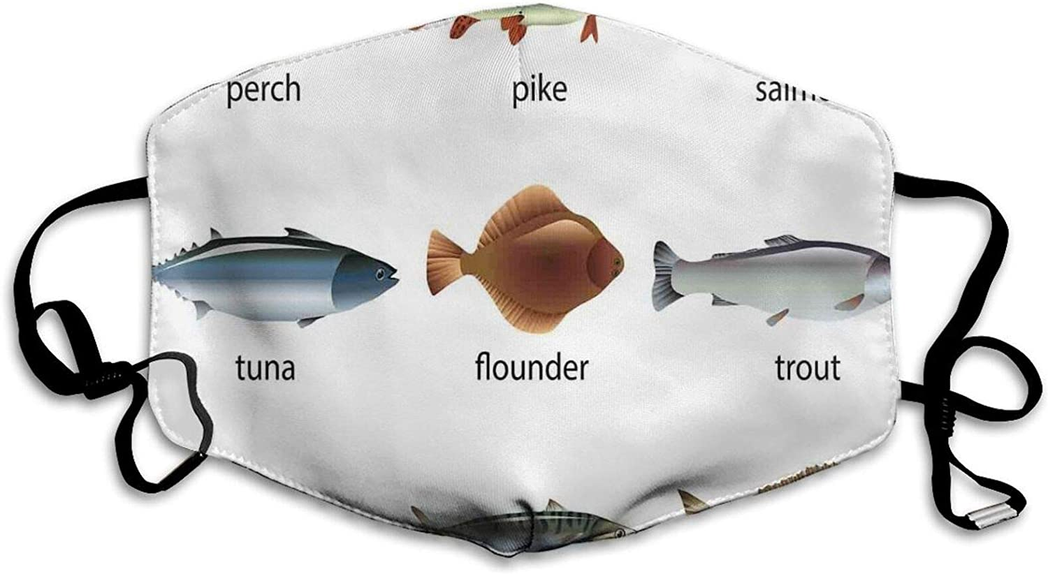 GULTMEE Group of Fish with Perch Tuna Pike Flounder Mackerel Trout Aquatic Life Artwork Print