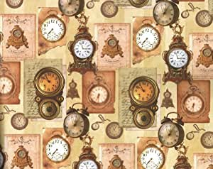 Antique Clocks and Timepieces Rolled Gift Wrap Paper 2 Sheets of 27 in x 39 in