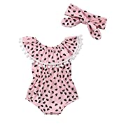 Xmas Apparel Cute Adorable Floral Romper Baby Girls Sleeveless Tassel Romper One-Pieces +Headband Sunsuit Outfit Clothes (6-12 Months, Off The Shoulder/Pink)