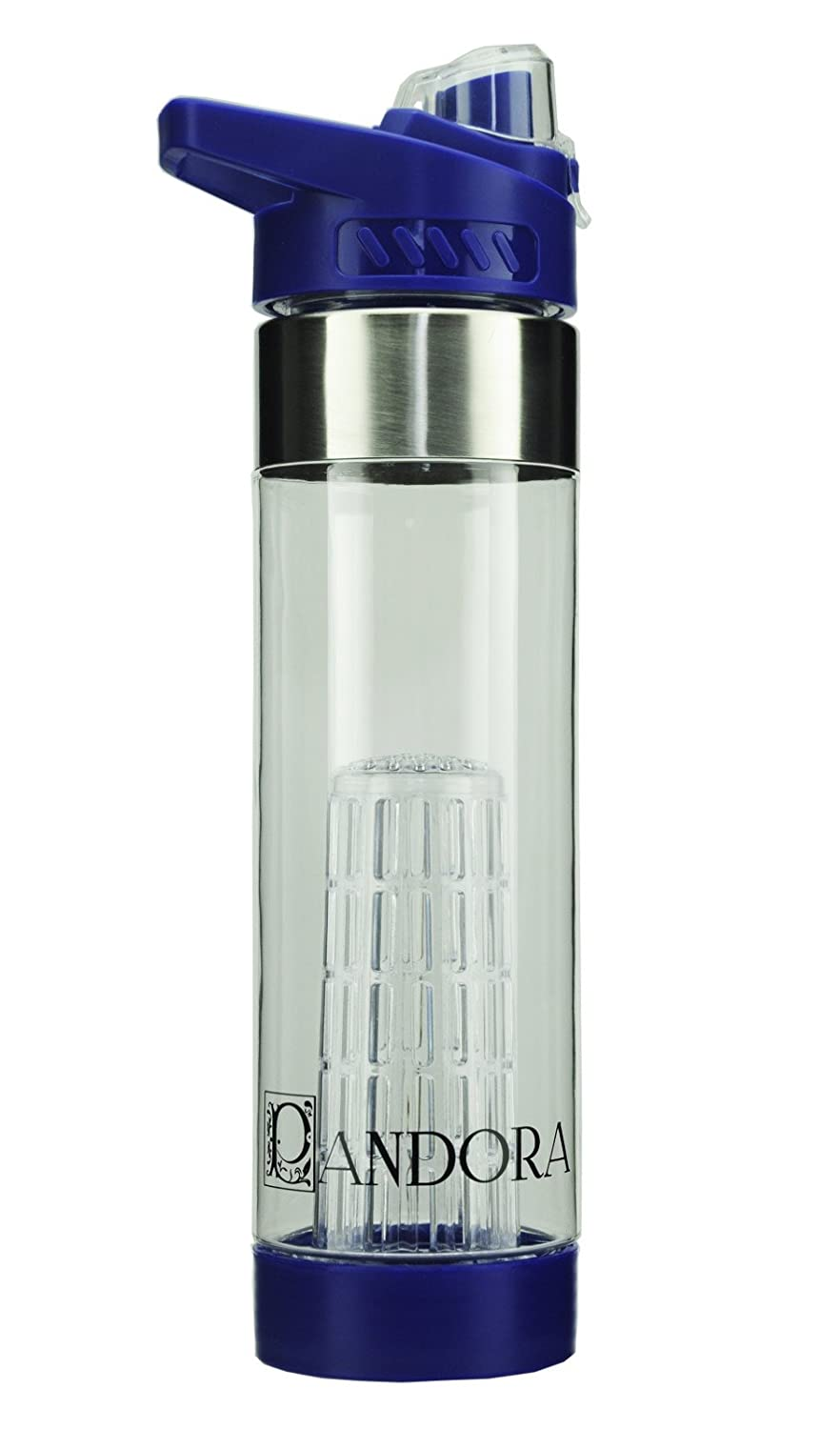 Pandora Premium Blue Fruit Water Bottle Infuser - 24 oz BPA Free Durable  Tritan Plastic - Sleek Flip Top Lid